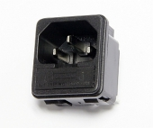 Power connector IEC 60320 C14 fused